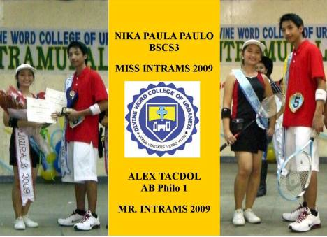 NIKA PAULA PAULO - MISS INTRAMS '09 and ALEX TACDOL - MR. INTRAMS '09
